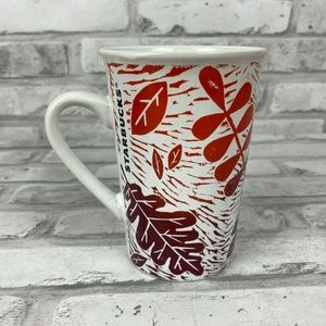 Starbucks Autumn Leaves Mug Fall Orange Brown 11oz